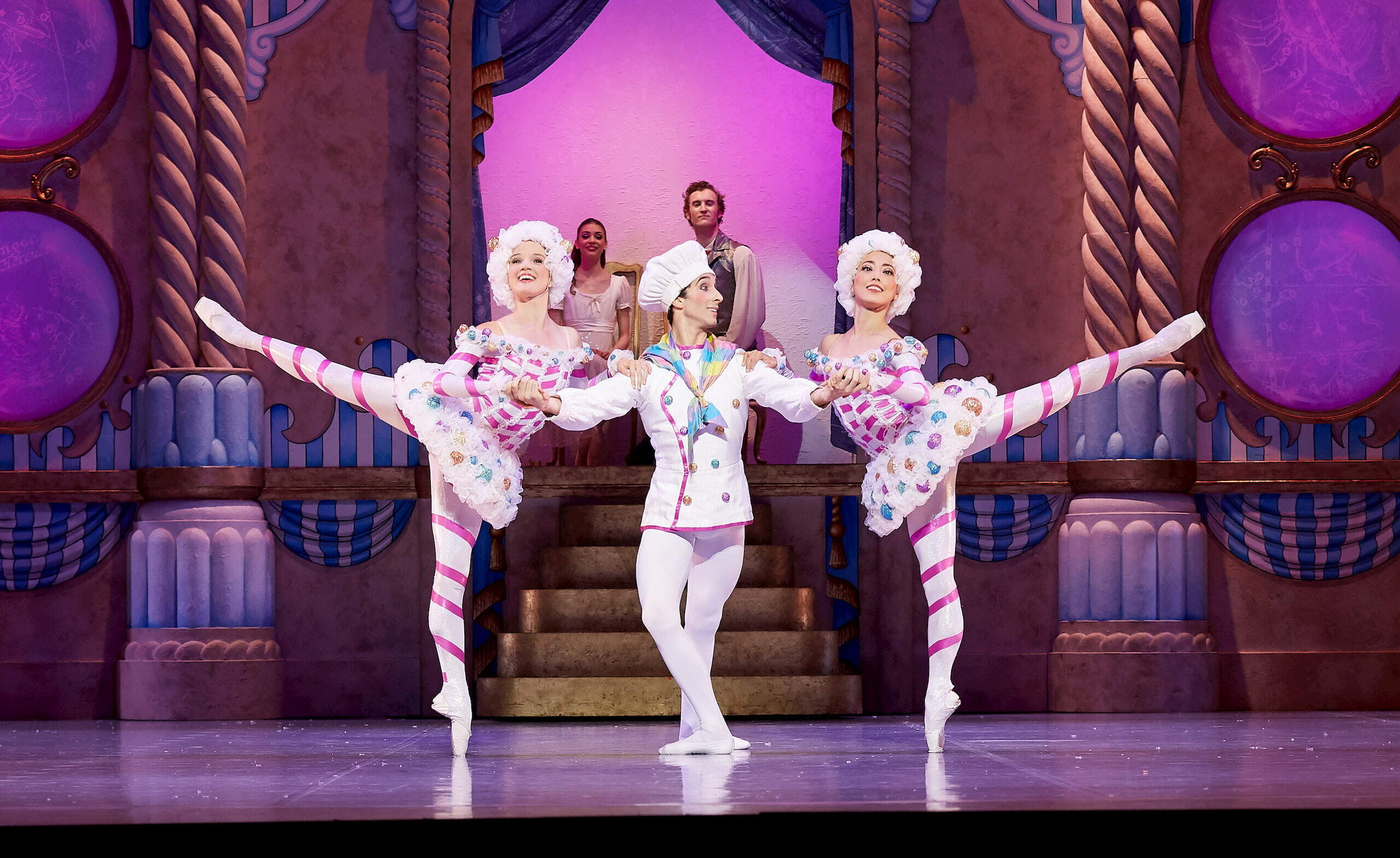 Nikki Blain, Stefano Russiello and Chihiro Nomura as Mirlitons in The Nutcracker. Photo by Sergey Pevnev.