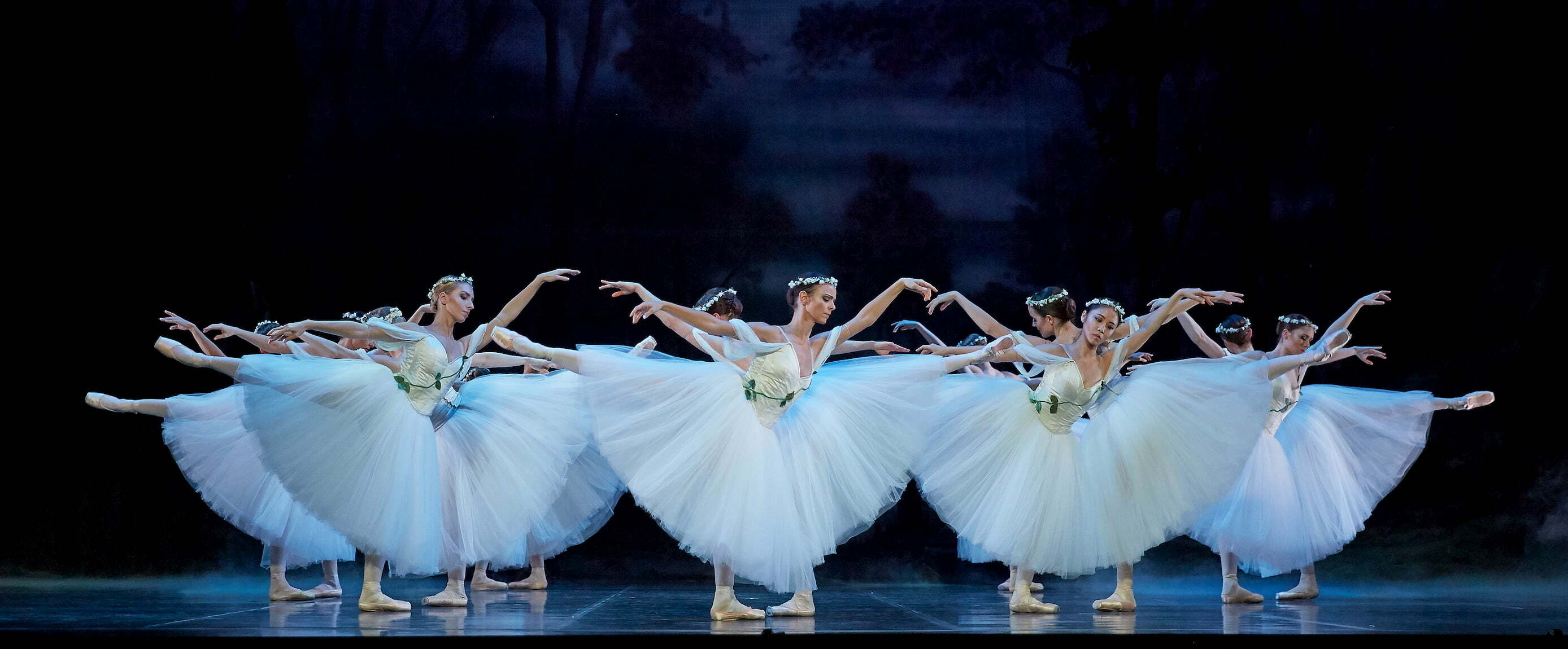 The dancers of West Australian Ballet as Wilis in Giselle (2019). Photo by Sergey Pevnev